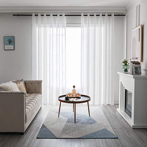 FY FIBER HOUSE Curtains Sheer White Linen Look Grommet 95 Inch Curtains 2 Panel Set White Semi Sheer 52Wx95L Inch