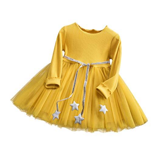TTYAOVO Mädchen Kleid Herbst Winter Langarm Pailletten Sterne Kinder Party Kleid Freizeitkleidung Größe (140) 6-7 Jahre Gelb &