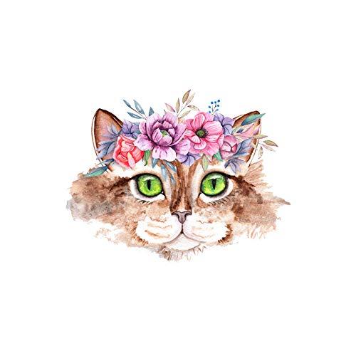 Parche Ropa Termoadhesivo Transferencias Térmicas De Animales De Rayas De Gato De Dibujos Animados De 5 Uds Para Ropa Pegatinas Térmicas En Rayas De Tela Camiseta Para Niños Apliques De Flor