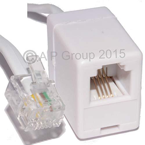 rhinocables® RJ11 ADSL EXTENSION Kabel Premium Kwaliteit Lood Hoge Snelheid BT Internet Breedband Modem Router Telefoon Draad 0.5m (50cm)