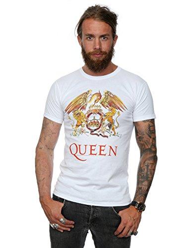 Absolute Cult Queen Herren Crest Logo T-Shirt Medium Weiß