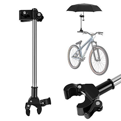 Flexzion Schirmhalter für Fahrrad Elektro-Fahrrad, Regenschirm Halterung für Kinderwagen, verstellbarer Regenschirmhalter Winkelhalter Ständer für Outdoor Golf Trolley Buggy Rollstuhl Stuhl Rollator