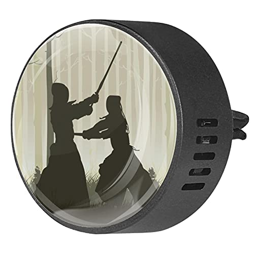 Clip di sfiato per diffusore di aromaterapia per auto Silhouette di foresta di kendo stile giapponese Profumo di incenso deodorante per ambienti 2Pack