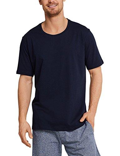 Schiesser Herren Mix & Relax T-Shirt Rundhals Schlafanzugoberteil, Blau (Dunkelblau 803), 54