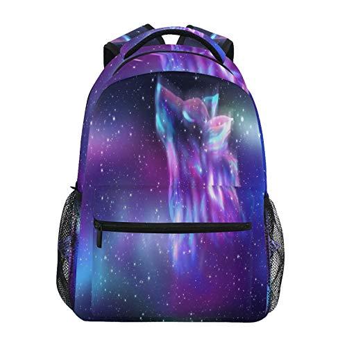 OOWOW Mochila escolar abstracta de galaxia lobo mochila ligera impermeable para portátil universitario mochila primaria bolsa de hombro grande para mujeres hombres niños adolescentes