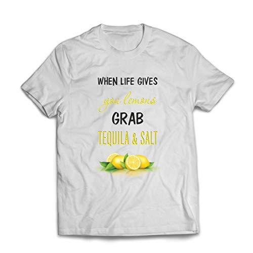 lepni.me Männer T-Shirt Wenn das Leben Ihnen Zitronen gibt, greifen Sie zu Tequila und Salz-Zitat (S Weiß Mehrfarben)