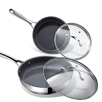Amazon - 20% Off on Nonstick Frying Pans with Lids,  Stainless Steel Skillets 8 inch & 10 inch 4-Piece Cookware Set