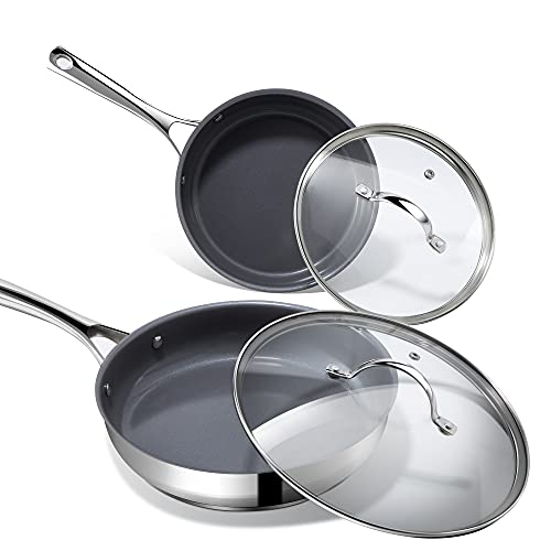 Nonstick Frying Pans with Lids, REDMOND Stainless Steel Skillets 8 inch & 10 inch 4-Piece Cookware Set Gas and Induction Compatible Dishwasher & Oven Safe, Healthy PFOA/PFOS/PTFE Free