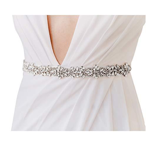 SWEETV Strass Hochzeit Gürtel Kristall Braut Schärpe Brautgürtel für Ballkleid Abendkleider, Silber