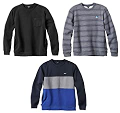 Get styled up for the season with this 3 pack of crew sweatshirts from Enjoi Skateboards. Each is a standard fit crew sweater. Hoody 1: Enjoi Pole Jam. Super stealth one of a kind raglan crew fleece. Lower body side seam pockets. Chest pocket with a ...