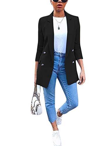ADEWEL Women's 3/4 Sleeve Blazer Solid Color Open Front Cardigan Work Office Business Blazers Jacket Suit Black