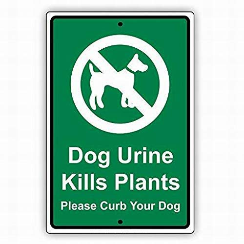 Lplpol Safety Sign Danger Sign Dog Urine Kills Plants Please Curb Your Dog Warning Caution Tin Signs Metal Outdoor Street Road Decor 8