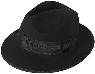 Men's Dress Wool Felt Fedora Hat Roll up Brim Gangster Bow Belt Hats