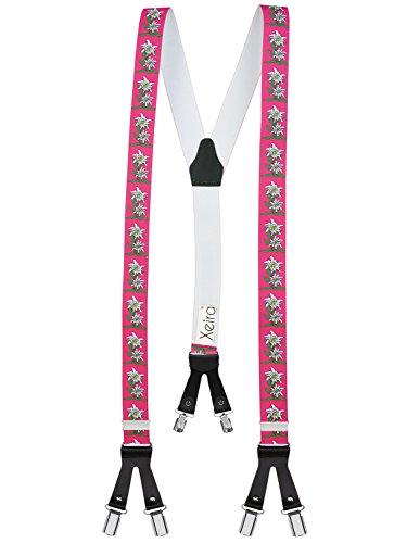 Xeira Herren Hosenträger mit Motiven und 6 Clips Lederriemen Edelweiss Pink