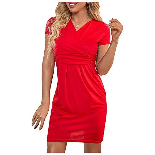 Vestido de Cintura Alta de Manga Corta con Cuello en V y Color sólido Delgado de Moda para Mujer(rojo-48,M)