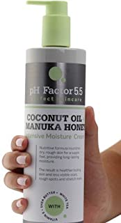 pH Factor 5.5 Coconut Oil Cream for face and body. Hydrating cream with coconut, Manuka honey, Shea Butter, and Vitamin E. Large 16oz bottle with pump.