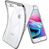 Funda para iPhone 7 Plus, Funda para iPhone 8 Plus, Joyguard Carcasa para iPhone 7 Plus/8 Plus Transparente Cristal Silicona Suave Delgado Flexible TPU con Parachoques de Efecto Metálico - 5.5'-Plata