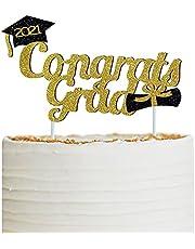 Congrats Grad 2021 Cake Topper, Food/Appetizer Picks for Graduation Party Cake Decorations (Gold)