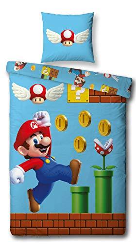 Character World Parure de lit réversible en 100 % coton avec housse de couette de 135 x 200 cm et taie d'oreiller de 80 x 80 cm Motif Super Mario Games, Linge de lit 100% coton, bleu, 135 x 200 cm