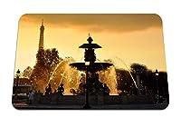 26cmx21cm マウスパッド (パリフランス噴水ライトジェット水滴スプレーエッフェル塔空空日没) パターンカスタムの マウスパッド