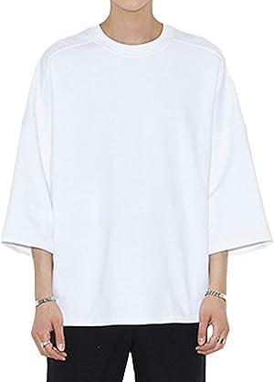 YIMANIE Tシャツ メンズ ゆったり 五分袖 夏 ビッグシルエット オーバーサイズ tシャツ ロングT ビッグt カジュアル ブラック ホワイト 大きいサイズ 無地 ドロップショルダー 前後差をつけ