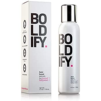 BOLDIFY 3X Biotin Hair Growth Serum - Get Thicker Hair Day One - Natural 3-in-1 Hair Regrowth, Leave-In Conditioner & Blow Out Thermal Treatment - Thickener Hair Products for Women and Men - 4 oz