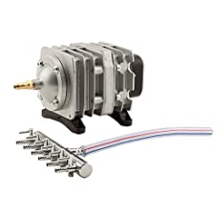 Widely used to provide oxygen in aquariums, fish farms and hydroponic systems Includes chrome air manifold with 6 adjustable flow outlet valves Cylinders and pistons are made of premium materials, making the pump strong and durable Comes with two out...