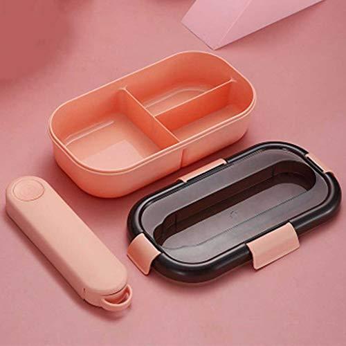 SKREOJF Picnic Bento Bento de 3 Compartimentos Almacenamiento de Comida Caja de Almuerzo con Cubiertos para Adultos Caja de Patata Tuppers Bento Box (Color : B)