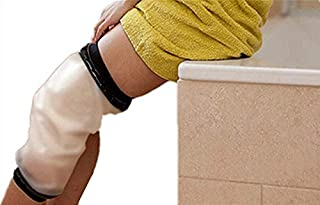 Knee Shower Cover, Adult Waterproof TPU Shower & Bath Bandage and Cast Protector for Knee Watertight Protection to Broken Knee Wound, Burns 100% Reusable(Black)