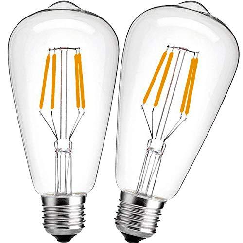 Nakital E26 LED Bulb 40watt Equivalent, LED Edison Bulb Warm White 2700K 600Lm, E26 Led Edison Bulb Vintage light bulbs Soft White Antique Base, Non dimmable, Led Filament Bulb Clear Glass (2Packs)