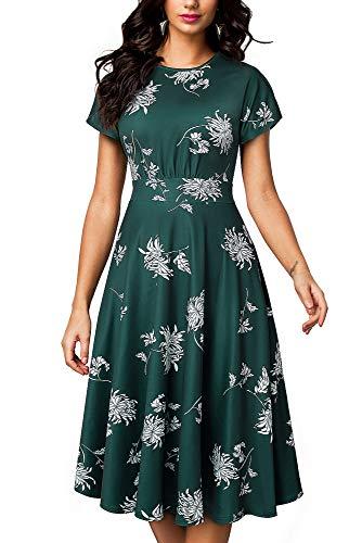 HOMEYEE Damen Vintage Rundhalsausschnitt Blumendruck Midi Kleid A102 (XXL, Grün + Blumen)