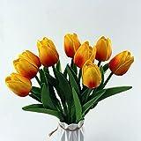 10 fiori artificiali, fiori artificiali, in lattice, per casa, giardino, ufficio, matrimonio, festa, decorazione floreale (tramonto rosso)