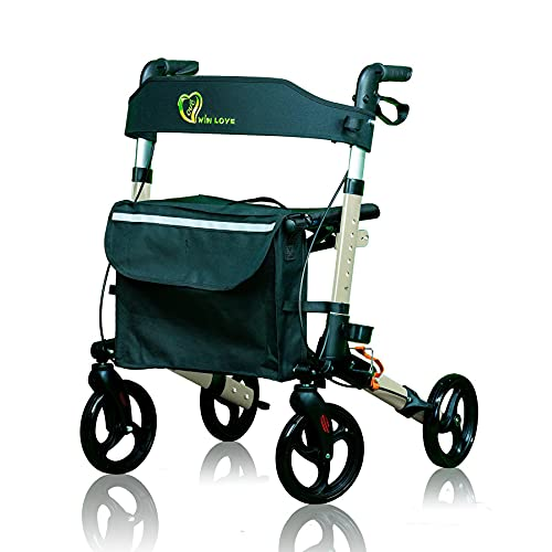 WINLOVE Rollator Walker for Seniors and Adults Foldable Compact Stable Lightweight Alumium with Backrest Rolling (Champagne)