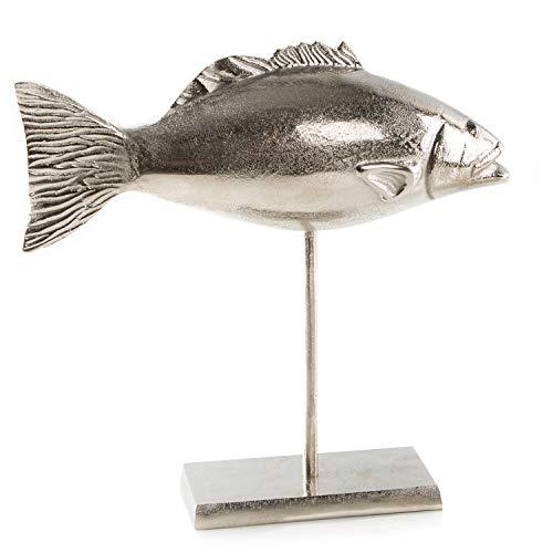 Logbuch-Verlag Fisch Figur aus Metall zum Hinstellen 33 x 31,5 cm - Dekofisch Silber auf Standfuß - Maritime Deko für Badezimmer & Fischrestaurant
