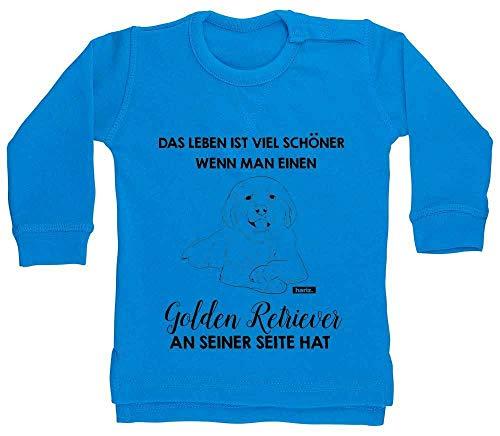 """Sudadera para bebé de Hariz con texto """"Das Leben ist Viel Schöner Golden Retriever"""", diseño de animales zoo Plus, tarjeta de regalo, delfín azul, 18 – 24 meses"""
