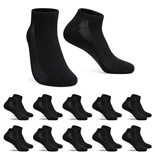 FALARY Sneaker Socken Herren Damen Sportsocken 10Paar Atmungsaktives Laufsocken Baumwollsocken Kurze Halbsocken 43-46 Schwarz