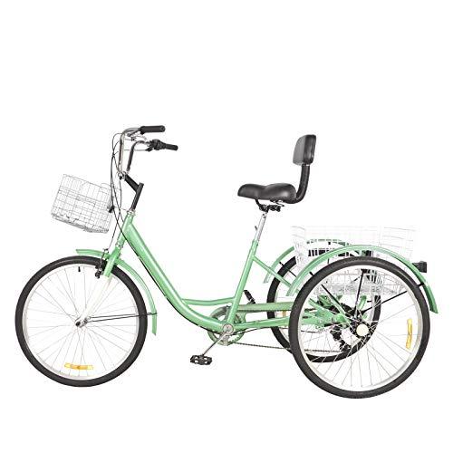 Dreirad für Erwachsene 24 Zoll 7 Gänge Erwachsenen Dreirad mit Korb 3 Rad Fahrrad für Erwachsene Adult Tricycle Comfort Shopping Tricycle Fahrrad Outdoor Sports Stadt Vorstadt (Grün)
