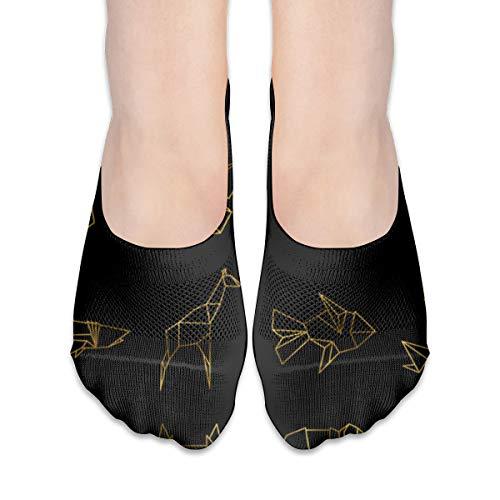 YudoHong Crew Sock Golden Japanese Origami Paper Animals Line Vector Image Warm Long Knee-High Socks Cushion Stocking