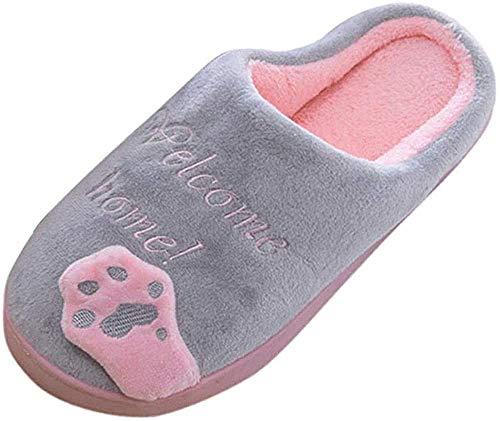 Femme Pantoufles Hiver Automne, Chaussons de Dessin Animé Chat Antidérapant Chaud Chaussures Intérieur Bringbring