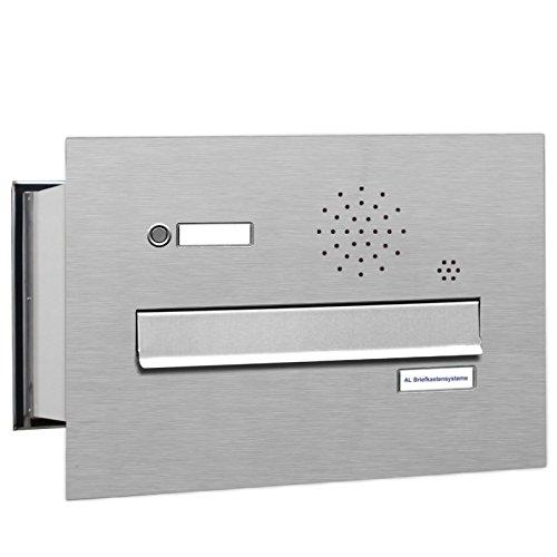 AL Briefkastensysteme 1 er Mauerdurchwurf Edelstahl Briefkasten mit Klingel, 1 Fach, wetterfeste Premium Briefkastenanlage Postkasten