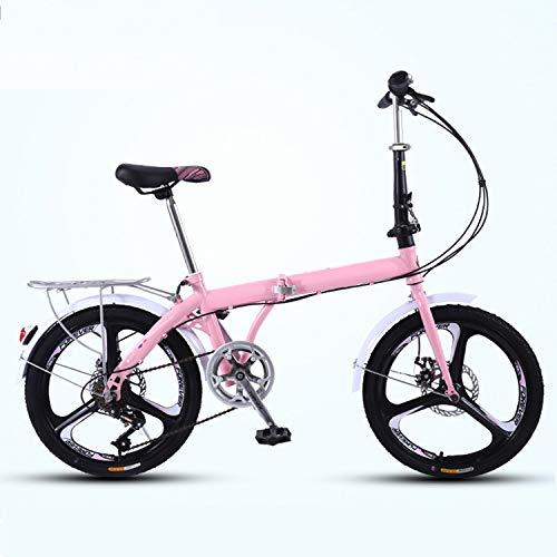 XWDQ Faltbares Fahrrad, Faltbares Fahrrad Leichtgewicht, Faltbare Fahrräder, Tragbares Fahrrad für Jungen und Mädchen, 20 Zoll,Rosa