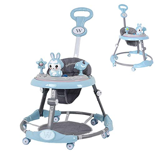 Baby Walker,Baby Activity Walker with Wheel Putter, Foldable Toddler Learning Walk, Height Adjustable Baby Walker W/Music Light&Rabbit Toys,Baby Walker for 6-18 Months Old Boys and Girls (Blue)