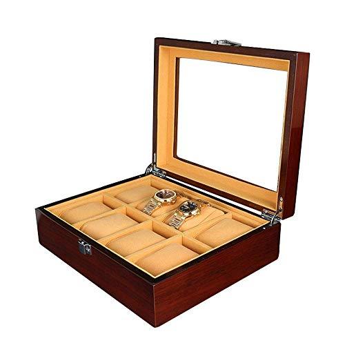 Caja de Reloj Caja de Almacenamiento de exhibición de Reloj Caja de Mesa de 8 bits Caja de Reloj de Pintura de Madera Caja de Almacenamiento de joyería Caja de Reloj (Color: Marrón, Tamaño: S) Cajas