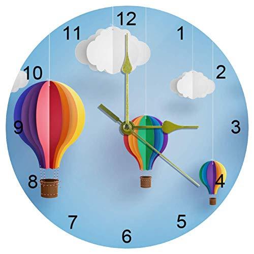 Ezioly Origami-Wanduhr, bunte Heißluftballon-Wanduhr, 25,4 cm, leise, nicht tickend, Quarz, batteriebetrieben, runde Wanduhren für Zuhause/Büro/Schule, Uhr