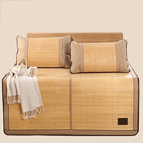 NBVCX Servicios para el hogar Colchoneta de Verano para Dormir Colchoneta de bambú de Doble Cara Colchón Plegable Individual Doble Juego de Tres Piezas 1,5 m 1,8 * 2,2 Metros 1,8 m
