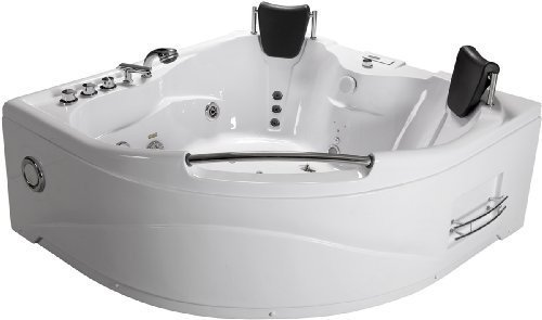 2 Two Person White Massage Whirlpool White Corner Bathtub Tub, with Bluetooth, Shower Wand
