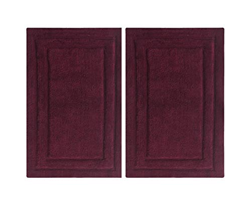 Chardin home 2 Piece 100% Cotton Classic Bath Rug Set With Anti Skid Spray, 17'' W x 24'' L, Latex Back/Burgundy