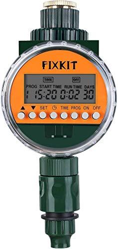 FIXKIT Neue Bewässerungsuhr, Elektronische Wasser Timer mit Regensensor, LCD Display, IP67 wasserdichte Schutzdeckel, Bewässerung Programme bis zu 30 Tagen