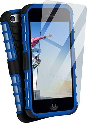 moex Panzerhülle kompatibel mit iPhone 5c - Handyhülle mit Panzerglas, extrem stoßfest, Panzer Outdoor Hülle 360 Grad, Blau Schwarz