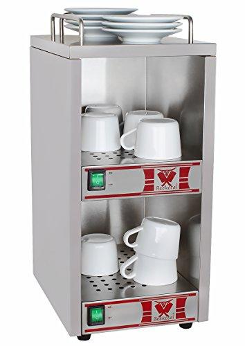 Beeketal 'BTW-1' Profi Gastro Tassenwärmer elektrisch für bis zu ca. 36 Tassen (je nach Tassengröße), 2 Fächer getrennt regelbar, konstante Wärme mit nur 2 x 70W, (B/T/H): ca. 250 x 320 x 550 mm